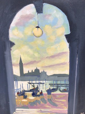 Lot 12 - English School, contemporary, oil on canvas - 'From The Piazzetta', initialled BC, 37cm x 29cm, in painted frame