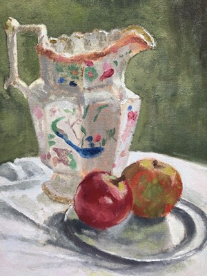 Lot 13 - Ian Roner, pair of contemporary oils on board - still life of teapot, jug and apples, signed, 29cm x 24cm, in painted frames