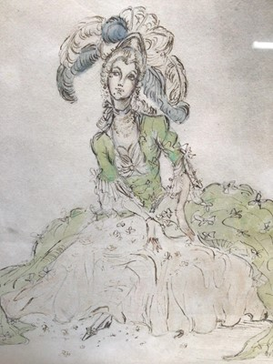 Lot 27 - Rex John Whistler (1905-1944) pen, ink and watercolour - Lady in 18th Century Costume, 21cm x 17.5cm, in glazed frame