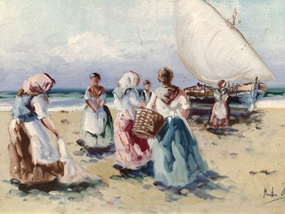 Lot 23 - French School, 20th century, oil on canvas - fisherfolk on the shore, indistinctly signed, 18cm x 32cm, in gilt frame