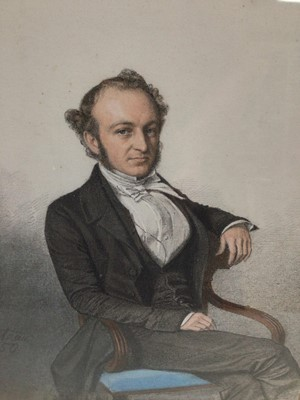 Lot 89 - Trio of mid 19th century pencil, pastel and watercolour portraits depicting members of the Carteret Carey family, a gentleman seated in a Regency chair and lady's seated in interiors, each indistin...