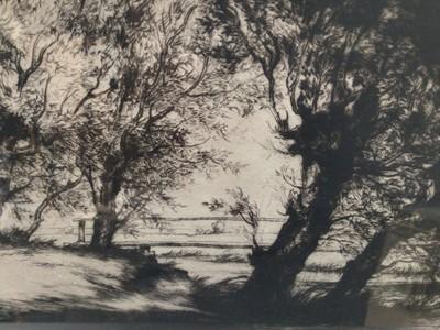 Lot 31 - William Palmer Robins (1882-1959) signed etching - Footbridge at Dedham, dated 1915, 14cm x 18cm, in glazed frame