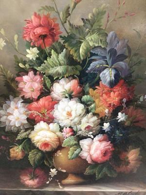 Lot 25 - M. Black, 20th century, oil on panel - still life summer flowers, signed, 39.5cm x 29.5cm, framed