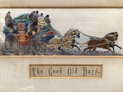 Lot 26 - Pair of 19th century woven silk Stevengraphs, 'The Good Old Days' and 'The Present Time', in glazed gilt frames, 19cm x 28cm overall