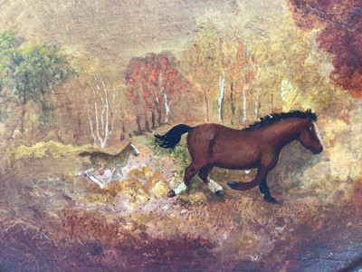 Lot 22 - Early/Mid 20th century Naive oval oil on board - mare and foal in landscape, 28cm x 38cm, framed