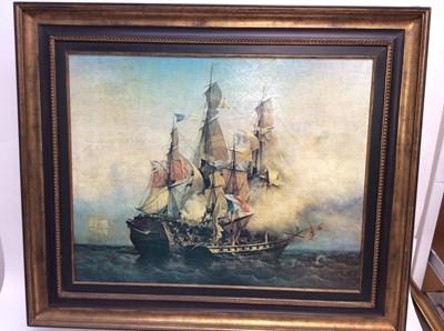 Lot 32 - Large decorative print on canvas - A Sea Battle, in gilt frame, 84cm x 99cm