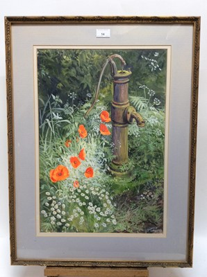 Lot 14 - Charles Clifford Turner, watercolour and gouache - The Village Pump, signed, 54cm x 37cm, in glazed gilt frame