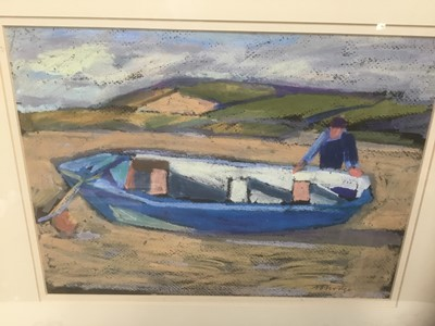 Lot 35 - Anthony Hodge (1948-2009) oil on panel, fisherman. Welsh Coast