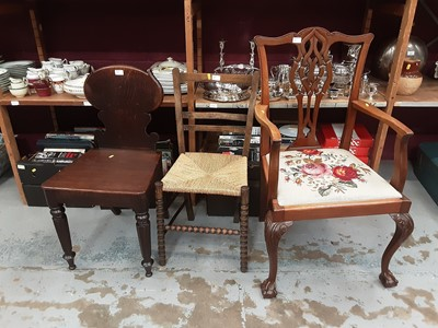 Lot 895 - Selection of chairs, corner shelf, dressing table mirror and gout stool