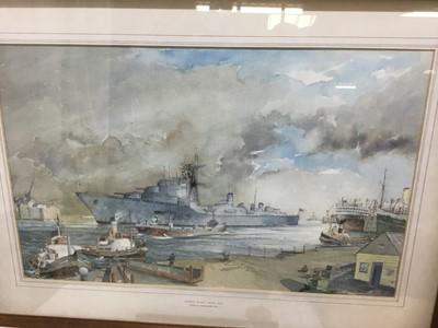 Lot 84 - John H Meadows (b.1912) watercolour - Daring Class