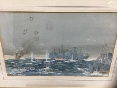 Lot 81 - John H Meadows (b. 1912) watercolour- sea battle