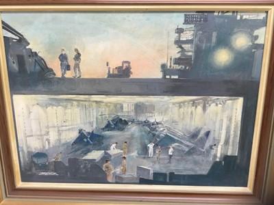 Lot 83 - John H Meadows (b. 1912) oil on board, H.M.S Hermes - Falklands Task Force