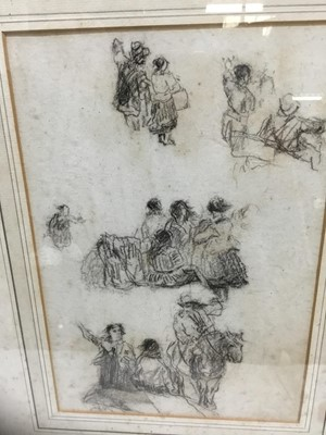 Lot 85 - Attributed to David Cox (1785-1859) charcoal sketch, Figures