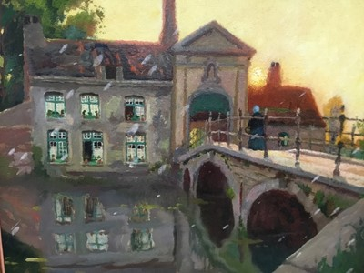 Lot 69 - Charles Lebon, (Belgian, 1906-1957), oil on board, A Canal in Bruges at Sunset, in gilt frame
