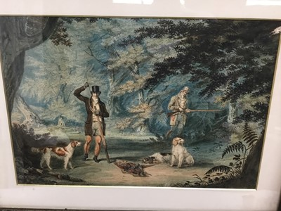 Lot 72 - Pair of good quality 19th century hand coloured hunting etchings in the style of Howitt, framed and glazed