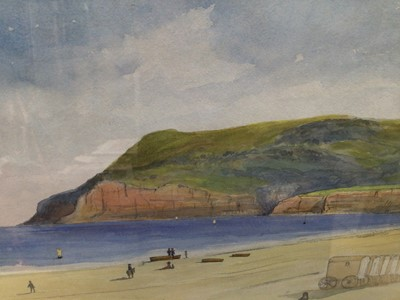 Lot 88 - Victorian English School watercolour - Dunose from Sandown Bay, with bathing huts on the beach, inscribed, 17cm x 24cm, in glazed gilt frame