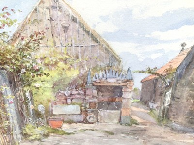 Lot 87 - Late Victorian English School watercolour - a rural village, 16cm x 25cm, in glazed frame