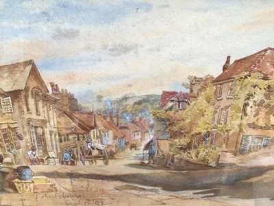 Lot 15 - E. L. Ernest, pair of late Victorian watercolours views of Robertsbridge, East Sussex, the village street dated Sept. 12/92 and Salehurst Church from Robertsbridge, 22nd May 1892, one signed, both...
