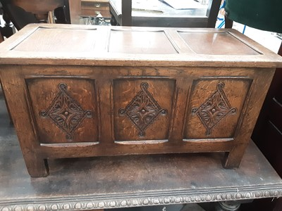 Lot 872 - Small 17th century style carved and panelled oak coffer
