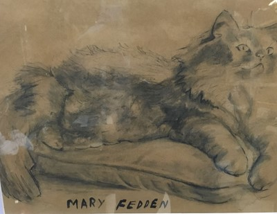 Lot 27 - Manner of Mary Fedden (1915-2012) charcoal - cat