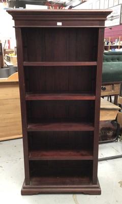 Lot 867 - Hardwood open bookcase with four adjustable shelves on plinth base H180.5, W87, D36cm