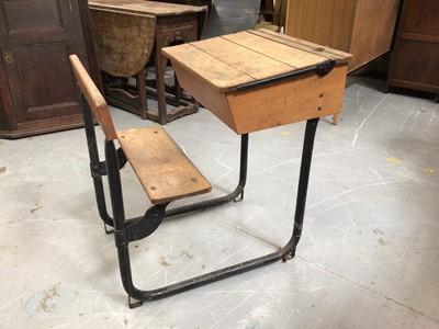 Lot 869 - Old child's school desk H81, W56, D80cm