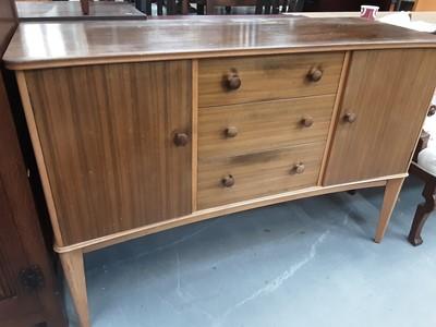 Lot 881 - Mid 20th century teak sideboard bearing label Vesper Furniture, 137cm wide, 48.5cm deep, 91.5cm high