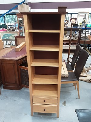 Lot 883 - Contemporary beech effect bookcase with adjustable shelves and two drawers below, 54cm wide, 33cm deep, 162.5cm high