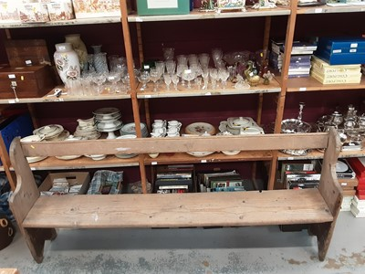 Lot 893 - Old pine bench, 210cm wide, 95.5cm high