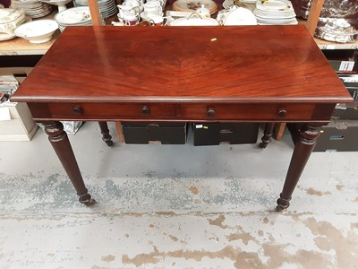 Lot 867 - Victorian mahogany writing table with two drawers on turned legs, 108cm wide, 57cm deep, 75.5cm high