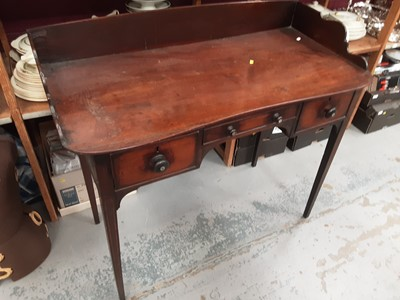 Lot 898 - Victorian mahogany kneehole sideboard with ledge back, three drawers below on square taper legs, 106cm wide, 53.5cm deep, 97cm high