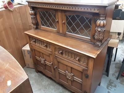 Lot 908 - Oak Court cupboard with two leaded glazed doors, 120cm wide, 48cm deep, 133cm high