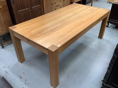 Lot 932 - Good quality light oak dining table bearing label - John Laurence, Fine Wooden Furniture, 200.5cm x 99cm x 88.5cm high
