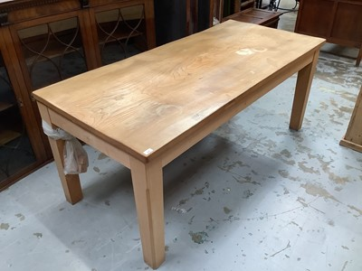 Lot 937 - Good quality elm kitchen/dining table on square legs, 183cm wide, 83cm deep, 76cm high
