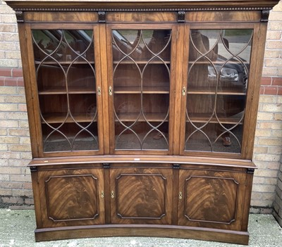 Lot 939 - Good quality Georgian style mahogany concave fronted two height with three astragal glazed doors above, and three cupboards below, 178cm wide, 43.5cm deep, 183cm high