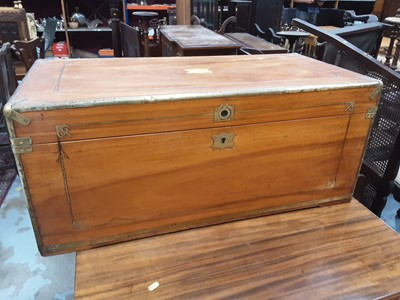 Lot 941 - Good quality brass bound camphor wood trunk with inlaid brass decoration, 92cm wide, 45cm deep, 39.5cm high