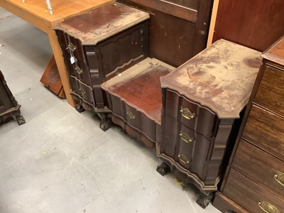 Lot 945 - South African hardwood bedroom suite comprising chest of six drawers, sunk centre dressing table, bedside chest, dressing stool, and luggage stool (5)