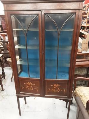 Lot 874 - Edwardian inlaid mahogany display cabinet, 89cm wide, 31cm deep, 175cm high