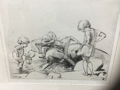Lot 86 - James Henry Dowd (1883-1956) pair of etchings, rock pooling, both signed