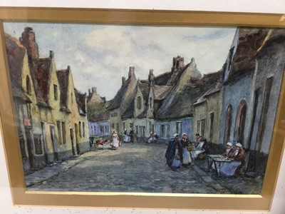 Lot 74 - James William Milliken (act. 1887-1930) watercolour, Dutch street scene with lacemakers