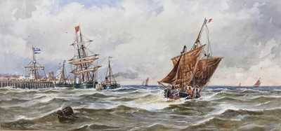 Lot 73 - Attributed to Thomas Bush Hardy (1842-1897), watercolour, Boats off a pier.