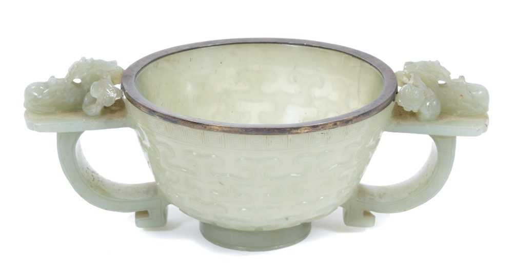 849 - Good Chinese carved jade two handled bowl