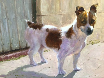 Lot 89 - Iris Collett (b. 1938), oil on board, A fox terrier standing by a wall, signed, in gilt frame. 29 x 39cm.