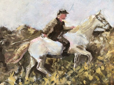 Lot 92 - Manner of A.J. Munnings, oil on board, A rider on a grey horse leading another horse, in gilt frame. 13 x 18cm.
