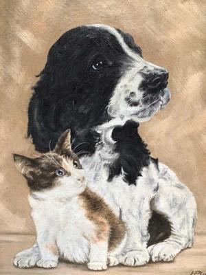 """Lot 93 - Joyce Platt (b. 1920), oil on artist board, """"Curious Friends"""", signed, in painted frame. 34 x 28cm."""