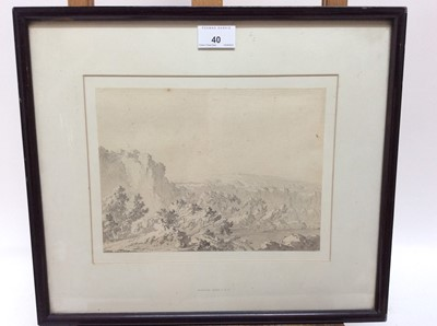 Lot 40 - Manner of William Pars (1742-1782) monochrome ink and watercolour - extensive landscape, 18cm x 24cm, in glazed frame
