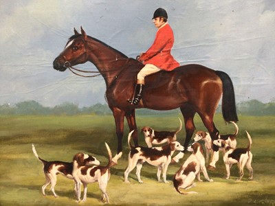 Lot 94 - D.L. Geere, oil on board, A huntsman on a chestnut hunter and the hounds, signed and dated '80, in gilt frame, 32 x 43cm.