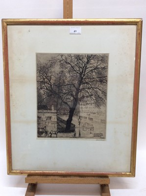 Lot 41 - William Henry Ansell (1872-1959) signed etching - 'A corner of the Foundling Hospital, Bloomsbury, 1907', 31cm x 25cm, in glazed gilt frame