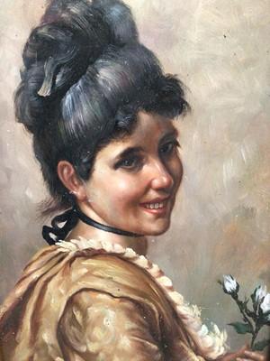 Lot 95 - Continental School 20th Century, oil on board, A pretty girl holding a flower, in gilt frame. 16 x 12cm.