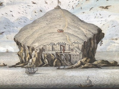 Lot 96 - English School 17th/18th Century, A hand coloured engraving of the Bass Rock, from the south shore, numbered 67, in dark frame, 23 x 40cm.